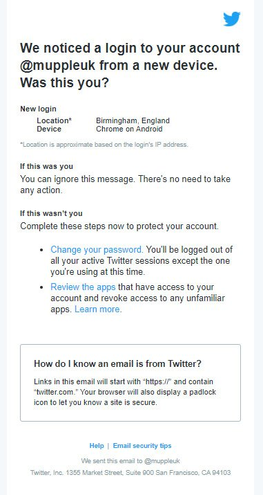 email do twitter